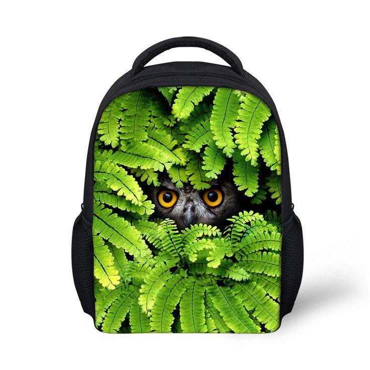 Fashion Canvas Backpack for Kids Zoo Animal Owl Print Boys Children School Backpack Kindergarten Toddler Rucksack Bolsas Gifts