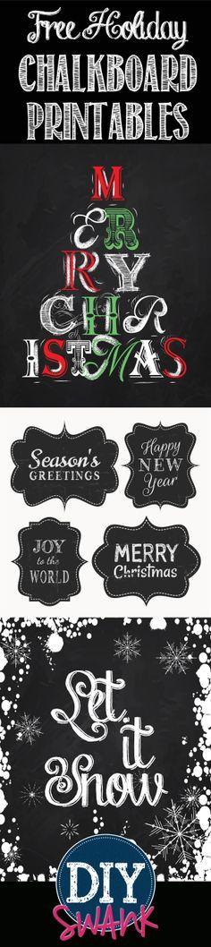 Free Holiday Chalkboard Printables