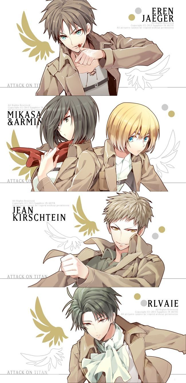 Jean Kirstein, Mikasa Ackerman, Armin Arlert, Rivaille (Levi), Eren Jaeger
