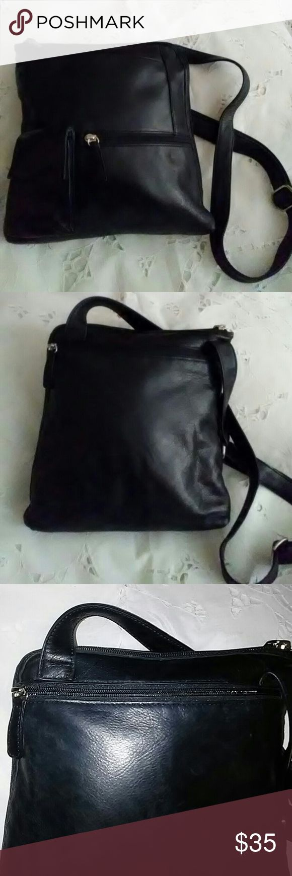 Osgoode Marley Large Crossbody Bag Soft Black Leather Crossbody Bag. Large back pocket, multiple compartments. Perfect stylish Crossbody Bag for vacation. Osgoode Marley Bags Crossbody Bags