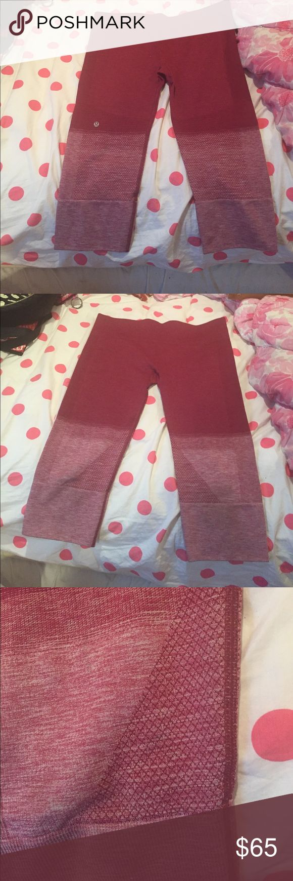 Lululemon Capri maroon leggings Capri leggings worn once in great condition! Make me an offer. Missing the inside tag lululemon athletica Pants