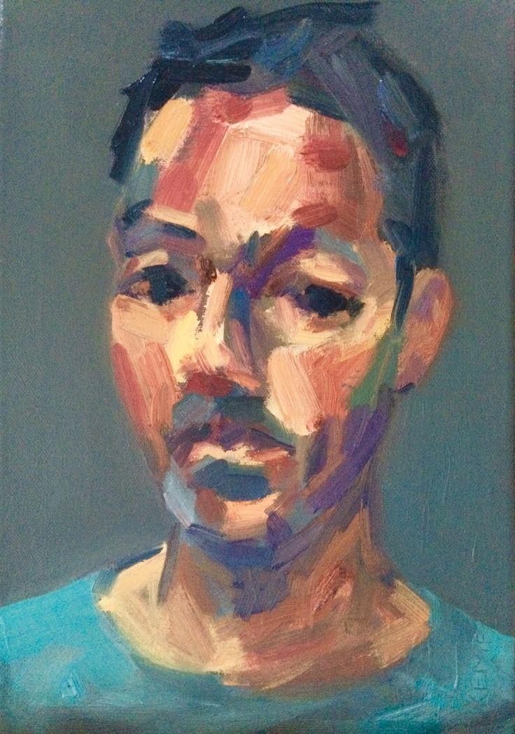 Kemp 2015 - self portrait, oil on canvas Werkvankemp.nl #portrait #porträt #portret  #oilpainting #olieverf #öl #grey #green #impressionist #lossetoets