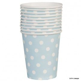 CE Papieren bekertjes / cups licht blauw / blue  10 stuks 62453LBL