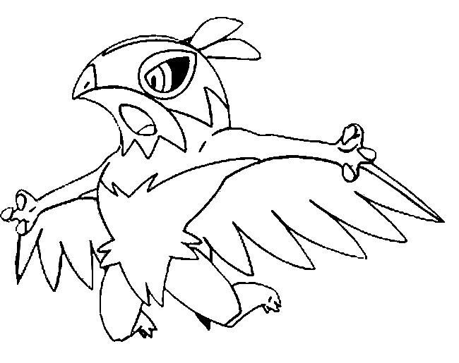 Pokemon Coloring Pages And Y : Kleurplaat pokemonxandy hawlucha coloring http