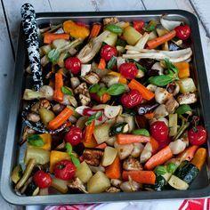 Découvrez la recette Légumes rôtis au four sur cuisineactuelle.fr.