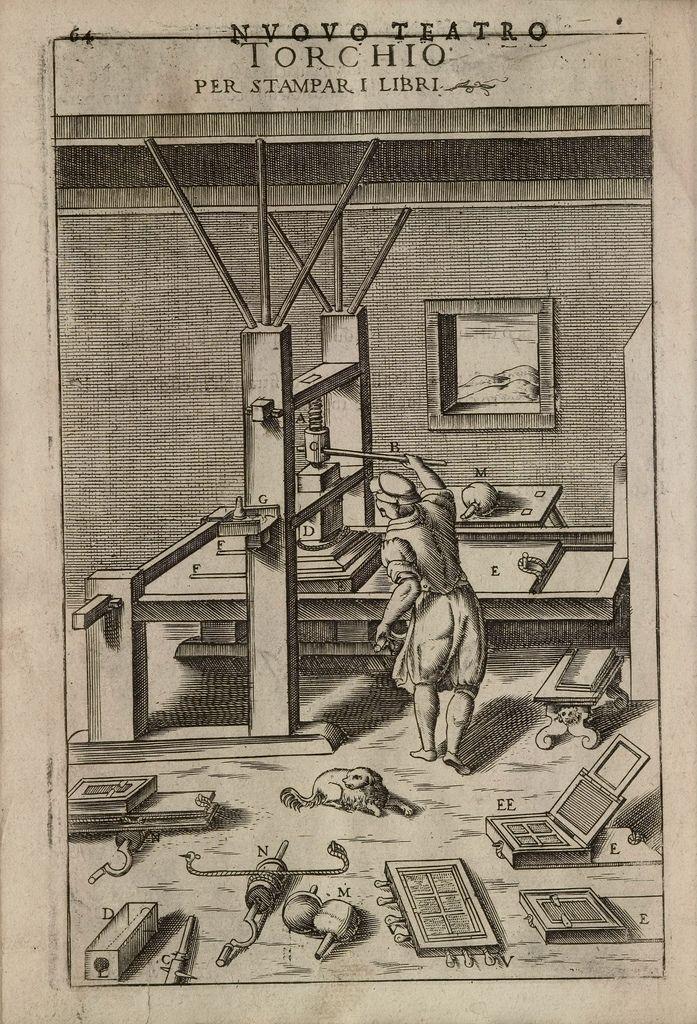 Letter press, illustration by Vittorio Zonca from 'Novo Teatro di Machine et Edificii' (1607).