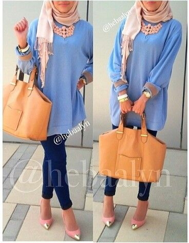 اعجبني تنسيق الالوان. Oversized long-sleeved soft blue top worn over form-fitting blue pants with bracelets, big tan leather bag with pink pumps with pointed gold tips. Very hijab appropriate.