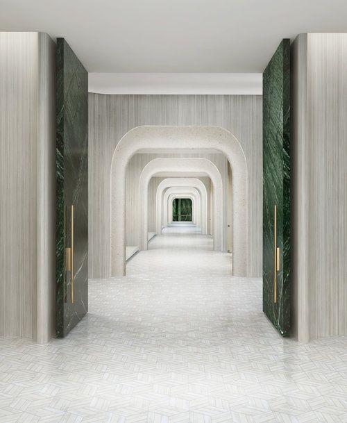 Symetry marble green doors , cream/white interior corridor