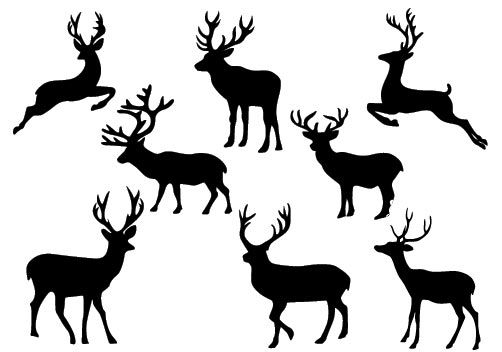 Christmas Deer Silhouette Vector Download Reindeer