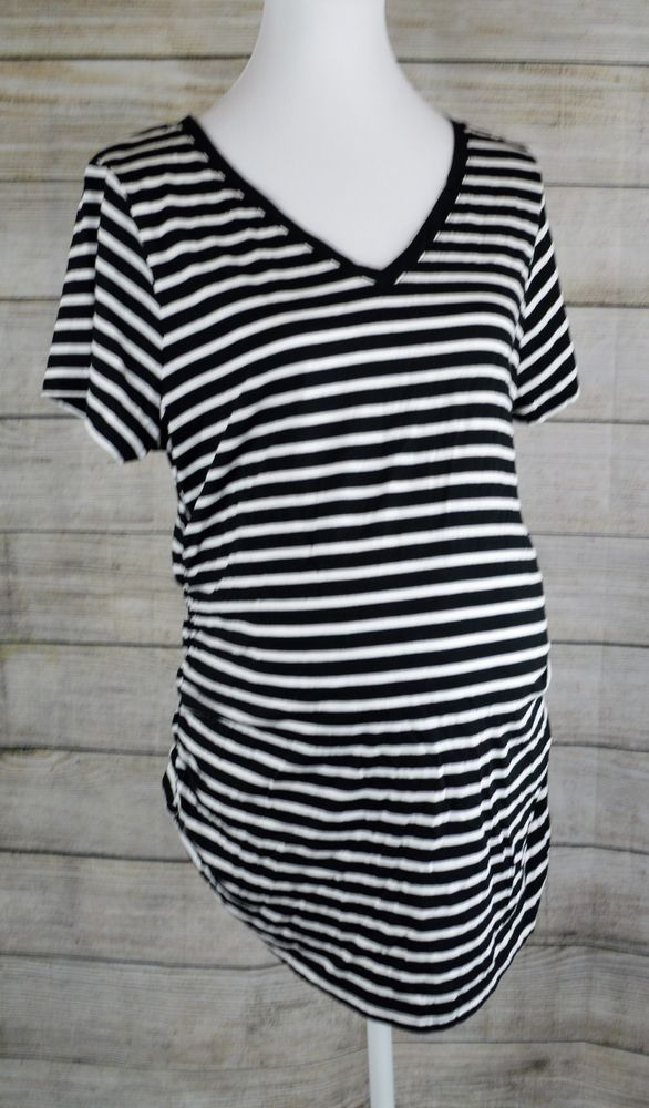 28ac954c2d319 Liz Lange Maternity Short Sleeve Knit Top Shirt Tee Pullover Cinch Side  Stripe L #LizLangeMaternity #VNeckKnitTopTee #Casual