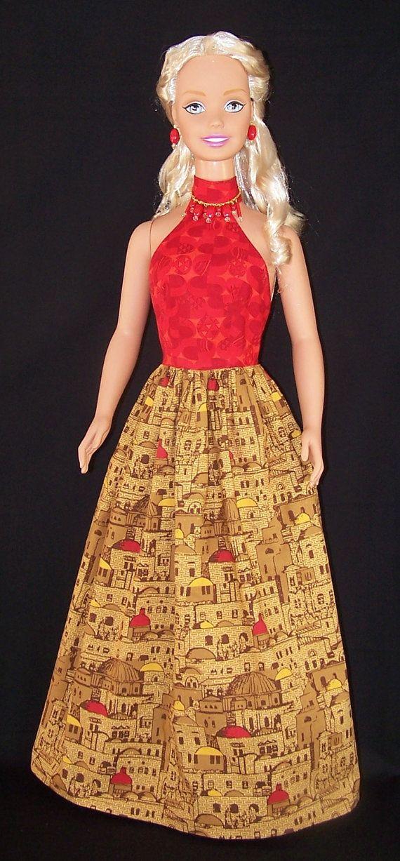My Size Barbie Doll Orange Sunset Maxi Dress by SewDollyCute - $24 - https://www.etsy.com/shop/sewdollycute