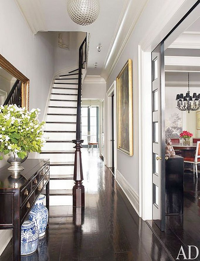 Black Stained Hardwood Floors   Brooke Shields Townhouse In NYC With David  Flint Wood