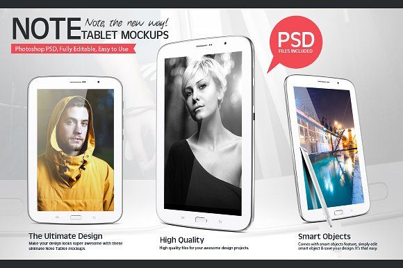 Note Tablet Mockups by ydlabs on @creativemarket