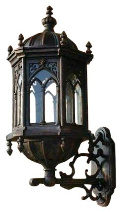 Cast iron Victorian Gothic wall sconce. For outside.