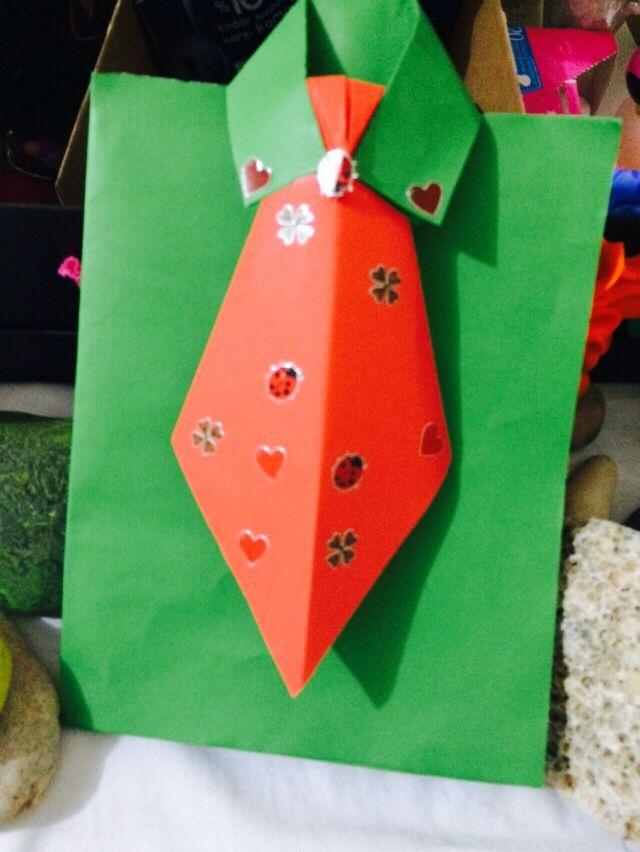 Kartondan gömlek ve kravat yıldönümü için eşime hazırladığım kart