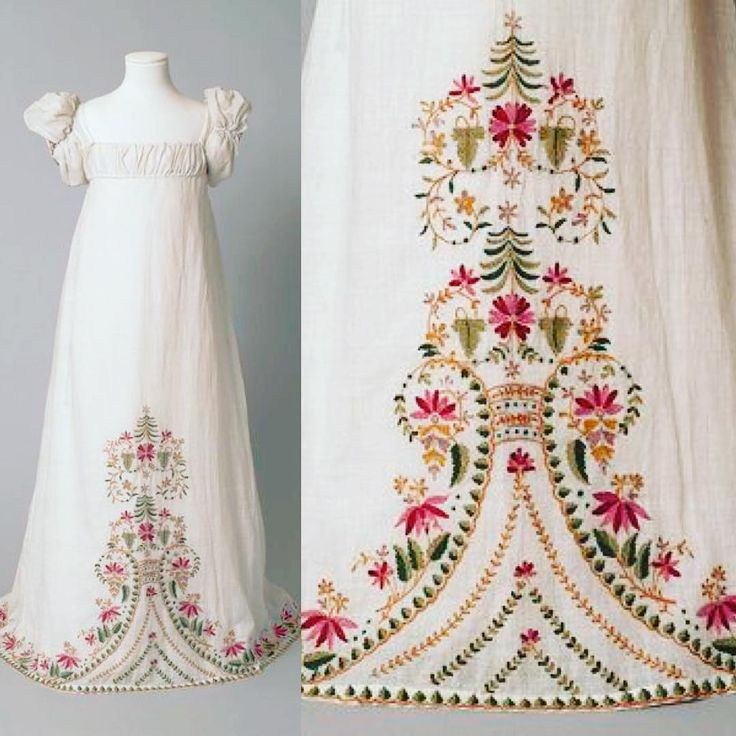 wool work embroidery on a c.1815 dress, V & A