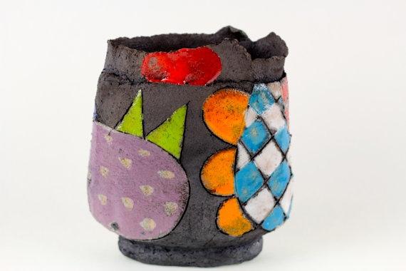 Raku Pottery  skulptural vase by Annemette Klit by TheClayPlay, $145.00
