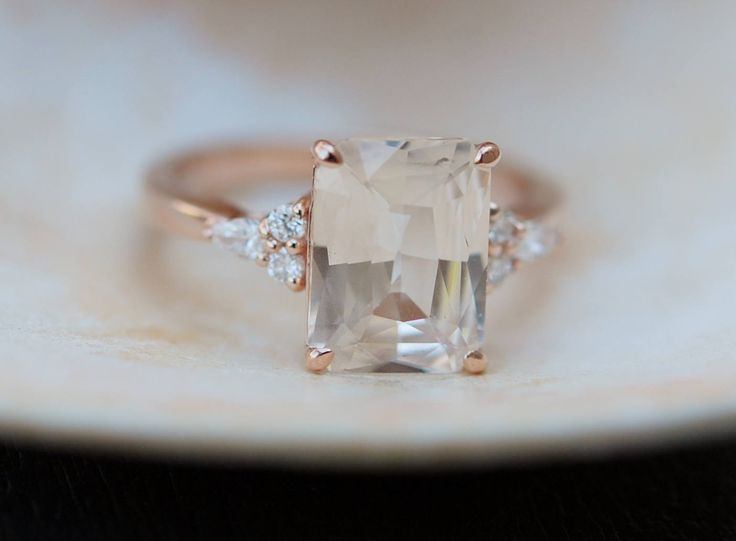 Engagement Ring Rose gold engagement ring Champagne Sapphire ring Blake Lively ring emerald cut Rose gold diamond ring 3.55ct sapphire ring by EidelPrecious on Etsy