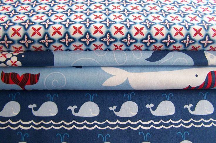 17€/m Blend Fabrics True Blue Baumwollstoff Wale Seesterne Fische Patchworkstoff