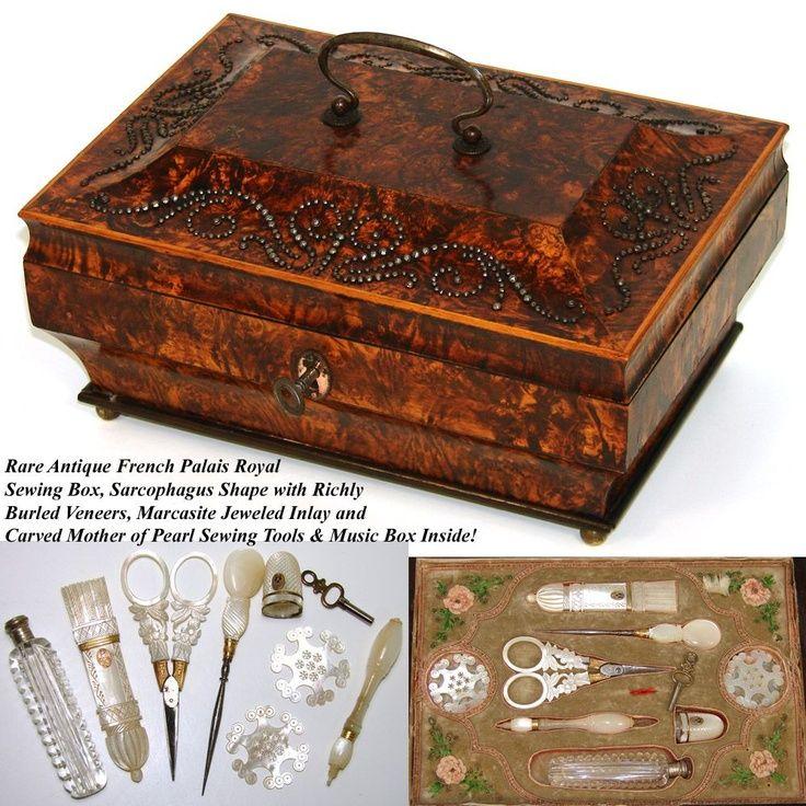 antique casket boxes | Antique Palais Royal Sewing Box, Casket, Music Box & Mother of Pearl ...