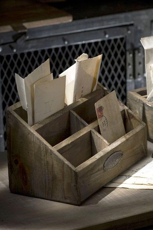 Mothology.com - Rustic Wood Desktop Letter Holder, $38.00 (http://www.mothology.com/rustic-wood-desktop-letter-holder/)