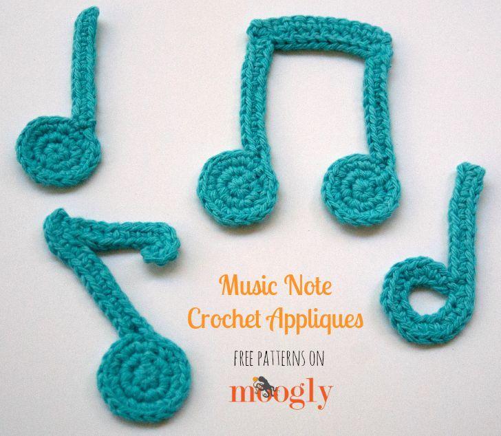 Musical Note Crochet Appliques! Free on Mooglyblog.com, thanks so for share xox ☆ ★   https://www.pinterest.com/peacefuldoves/