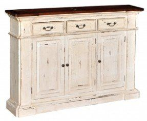 Distressed narrow sideboard in black for game storage on long