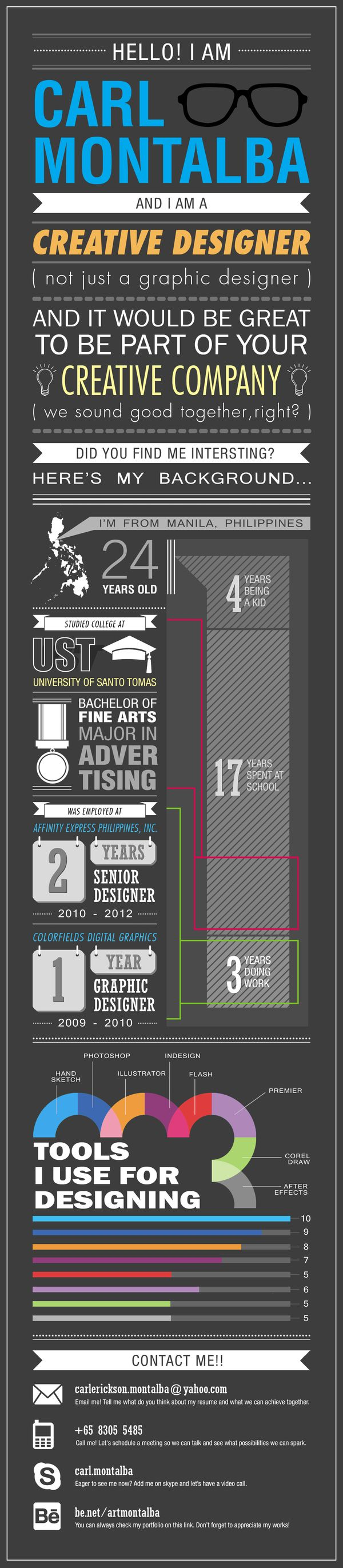 Infographic Resume by Carl Montalba via Behance