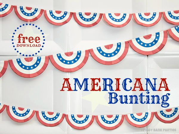 Americana Bunting ~ Create your own bunting ~ Free Printable