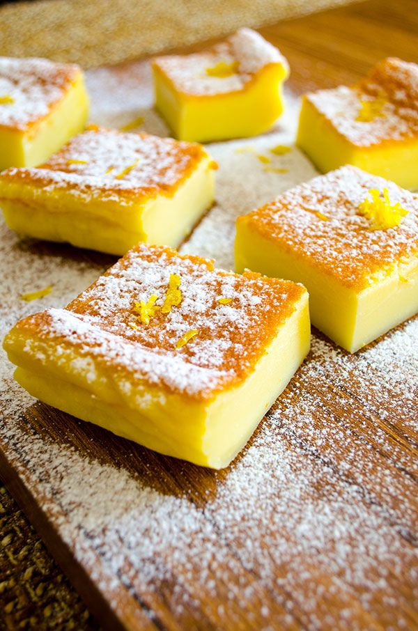 Magic Custard Cake. 4 eggs, at room temperature 1 tsp vanilla, 1 cup sugar, 110g butter, melted, ¾ cup  flour, 2 cups milk, lukewarm, 2 tsp lemon zest (Click to read directions--eggs are separated).