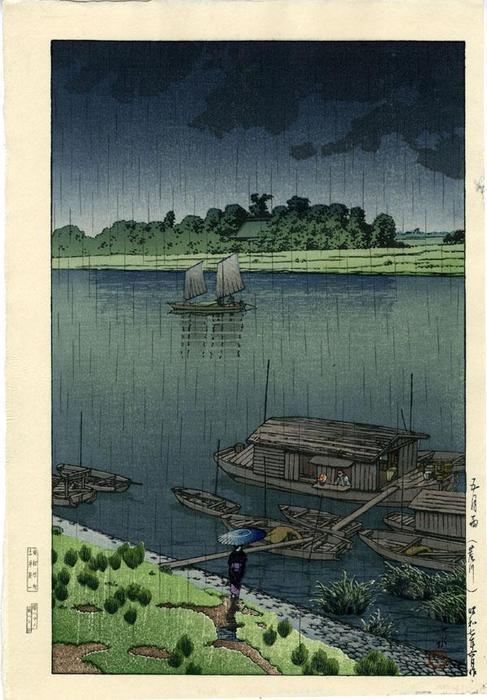 Kawase Hasui--RAIN AT ARAKAWA #Hasui