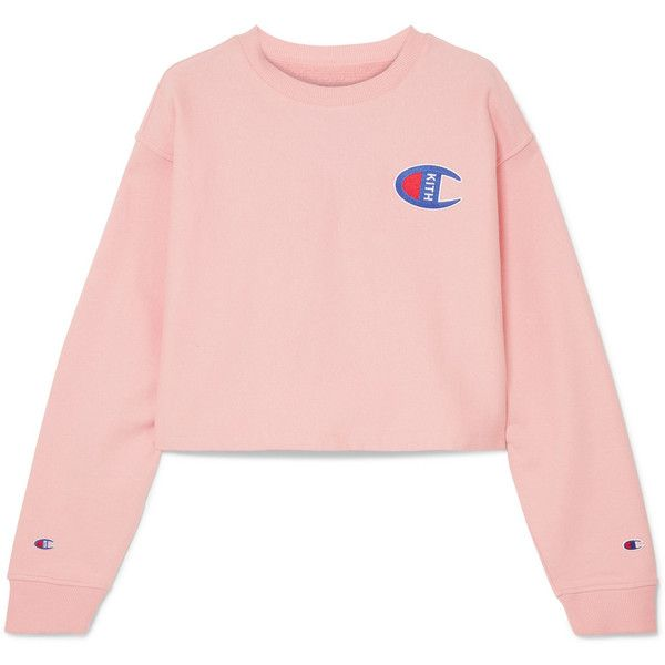 Kith + Champion Brianna oversized cropped appliquéd cotton-blend... ($120) ❤ liked on Polyvore featuring tops, hoodies, sweatshirts, pink, cut-out crop tops, cropped sweatshirt, oversized pink sweatshirt, pastel pink top and oversized crop top