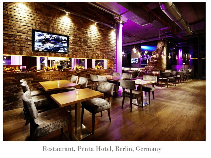 #Dimplex #fireplaces used to create ambiance in #Penta #hotel, #Berlin, #Germany
