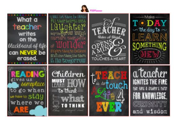 Teacher stickers Chalkboard Stickers Teacher Quotes by PSDPlanner