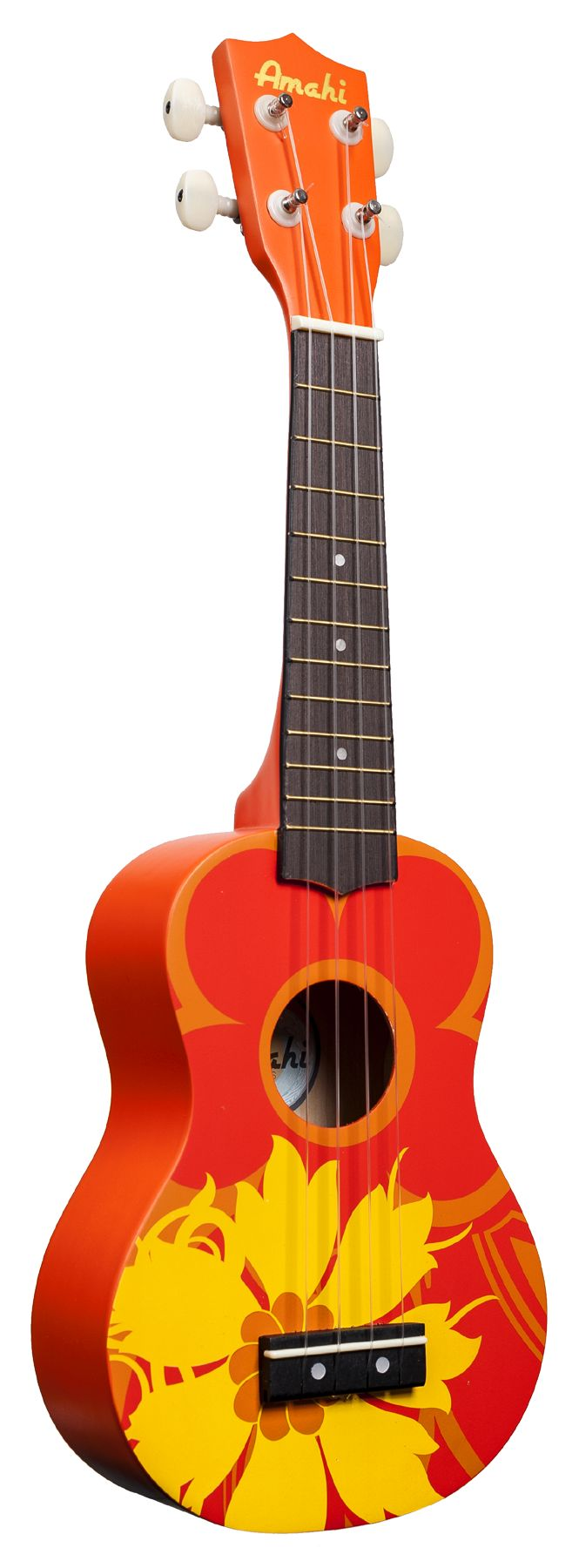 A beautiful ukulele from Amati's student series. - Orange Flower Design - Soprano Size - Painted Wood Body - Open Geared Tuners - Nylon Strings and Vinyl Zippered Carrying Bag