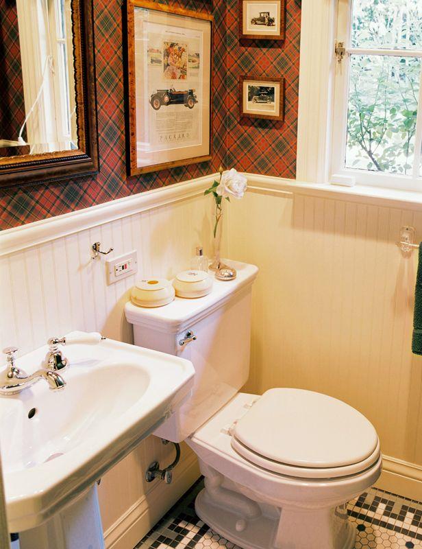 Adeeni design group his bathroom with tartan wallpaper in for Tudor bathroom design