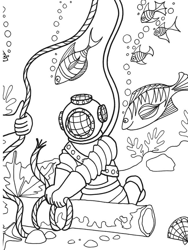 deep sea diver coloring page 97 best under the sea coloring or painting pages images on