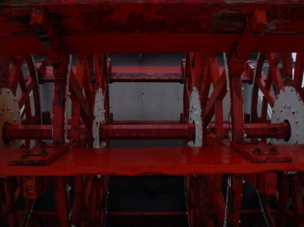Paddle wheel from the Chautauqua Belle during drydock season, Mayville, NY