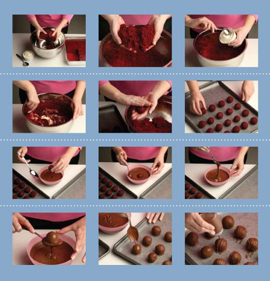 How to Make Cake Balls..cook a cake break into tiny pcs, mix with frosting then form balls, freeze, use decorating chocolate to cover