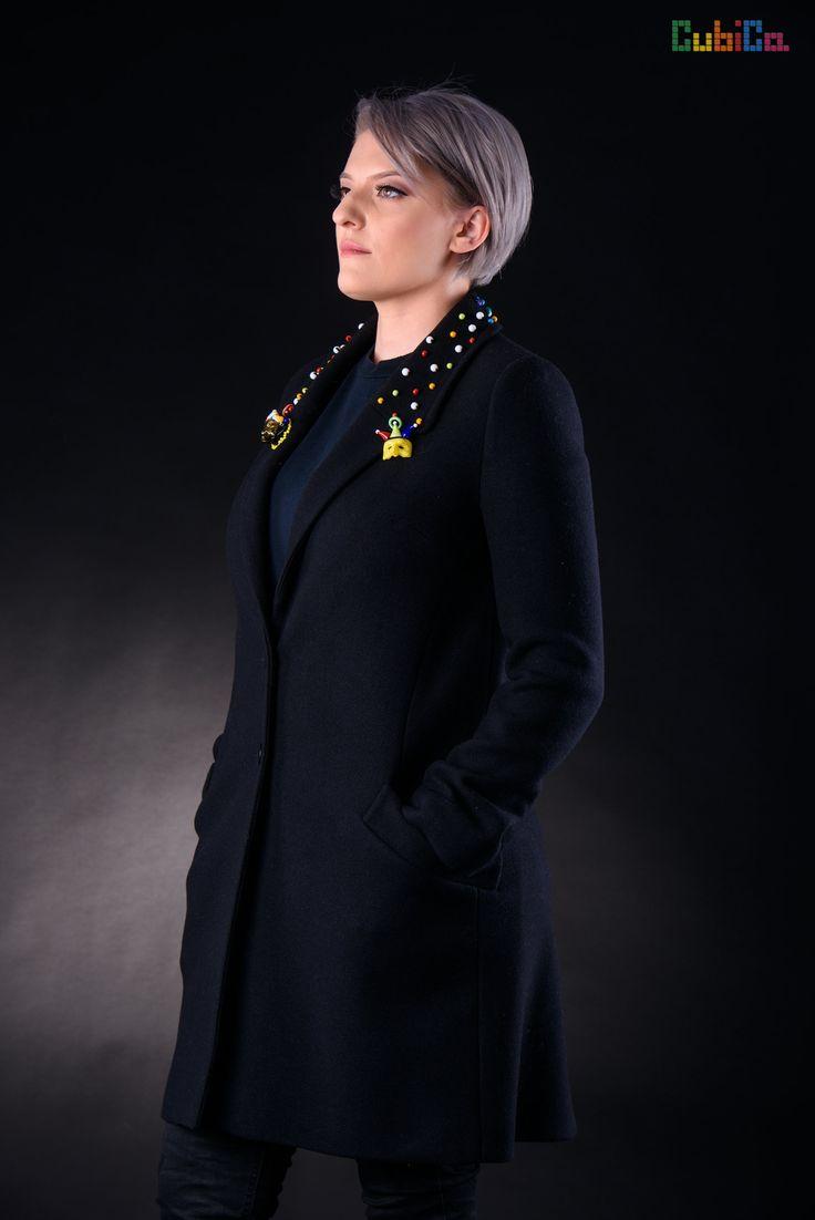 Parnasius wool coat murano collar embellished CubiCa Peculiar collection