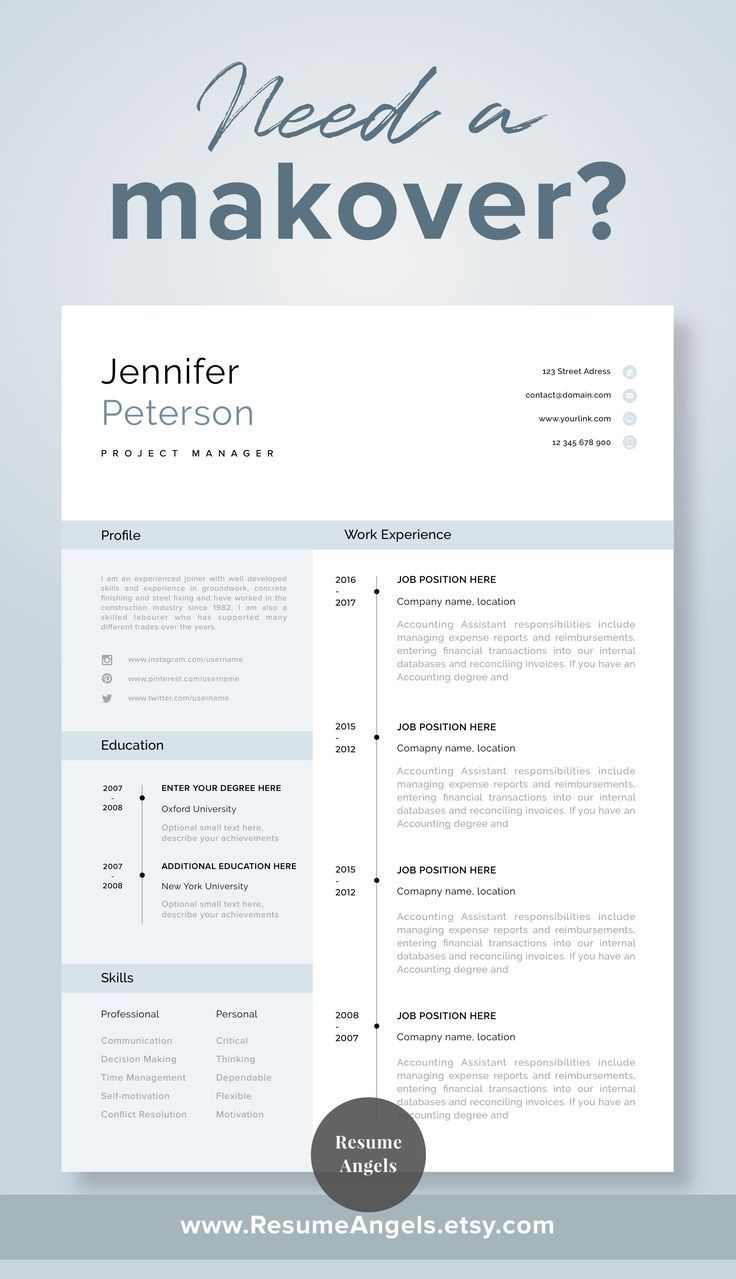 Modern Resume Template Cv Template Cover Letter Professional Resume For Word One Page R Resume Template Professional Modern Resume Template One Page Resume