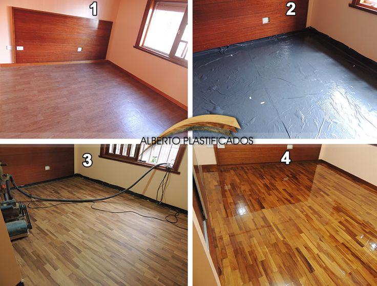 retiro de piso flotante y colocación con impermeabilización, pulido y plastificado de roble misionero oscuro y zócalos y solea