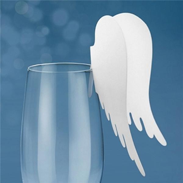 Pack 10 Marcasitios Alas de Angel para colocar en las copas de la mesa de navidad