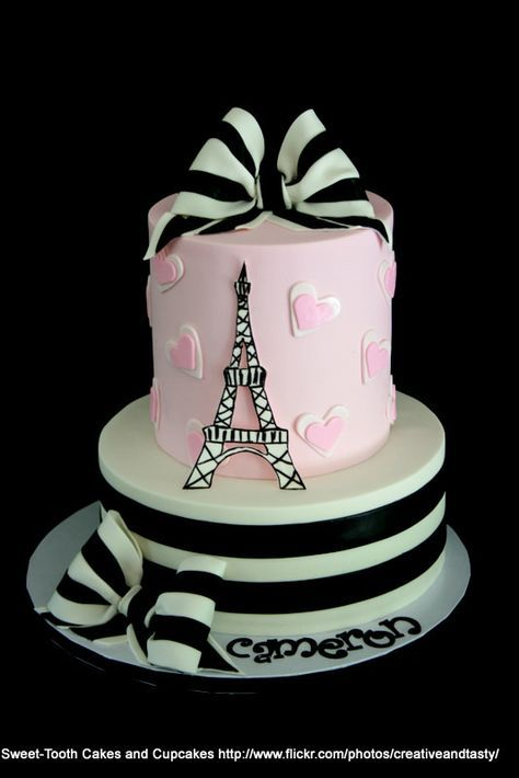 Paris Cake Pink White Black - For all your cake decorating supplies, please visit craftcompany.co.uk                                                                                                                                                      Más