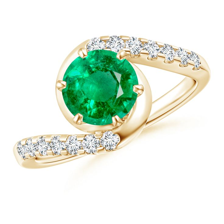 Angara Solitaire Natural Emerald and Pave Diamond Dome Ring njJLEQJ2