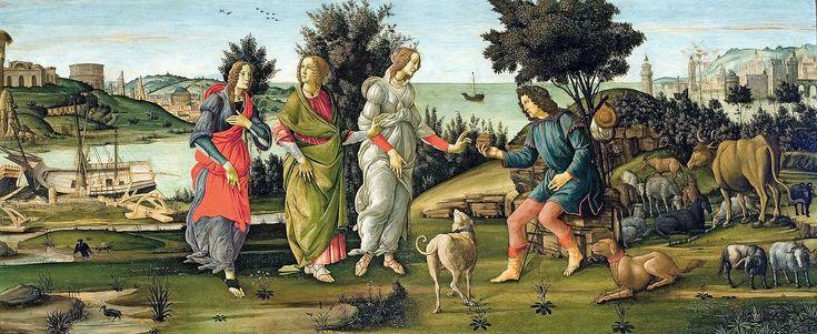 Le jugement de Pâris par Sandro Botticelli en 1485