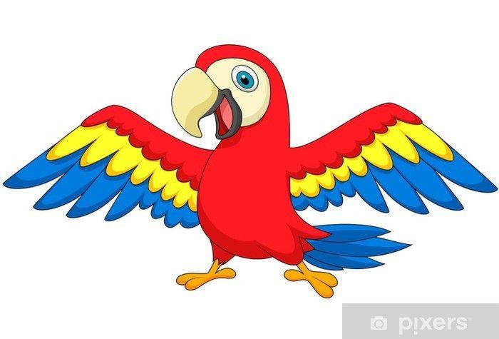 Cute Parrot Bird Cartoon Wall Mural Pixers We Live To Change In 2021 Parrot Cartoon Cartoon Bird Drawing Cartoon Birds