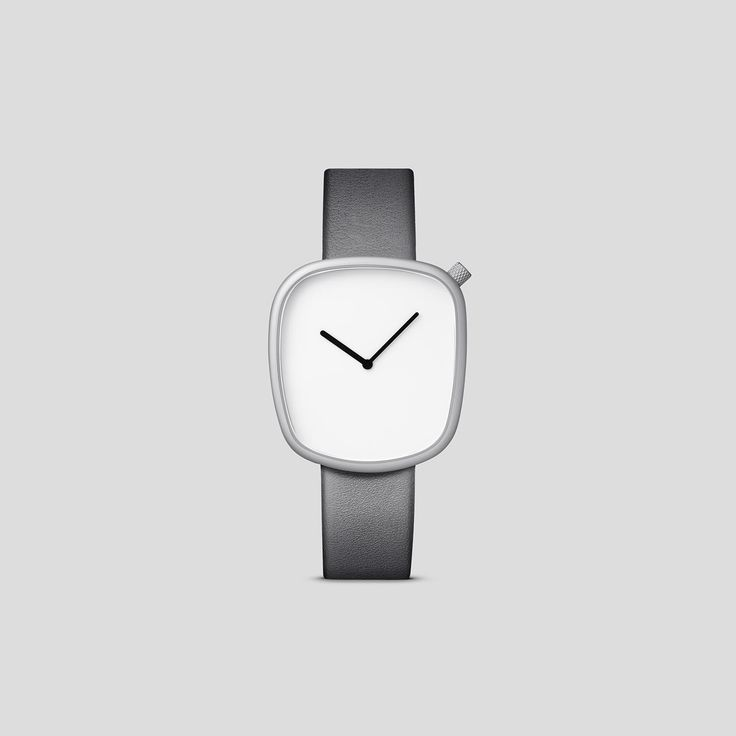 MATTE STEEL ON GREY ITALIAN LEATHER  Designed by acclaimed, Danish design trio, KiBiSi, and inspired by the worn pebbles found along Scandinavian coastlines, the Pebble watch is a carefully considered timepiece created through a comprehensive process combining time-honored craft and idea-driven innovation.