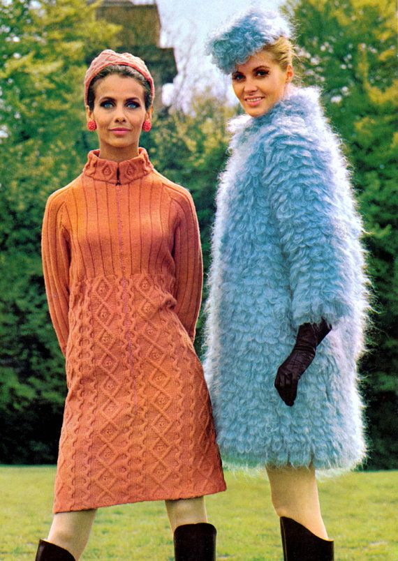 Vintage Vogue 1960s Mod Fake Fur Coat and Hat Knitting Pattern PDF. 6.00, via Etsy.