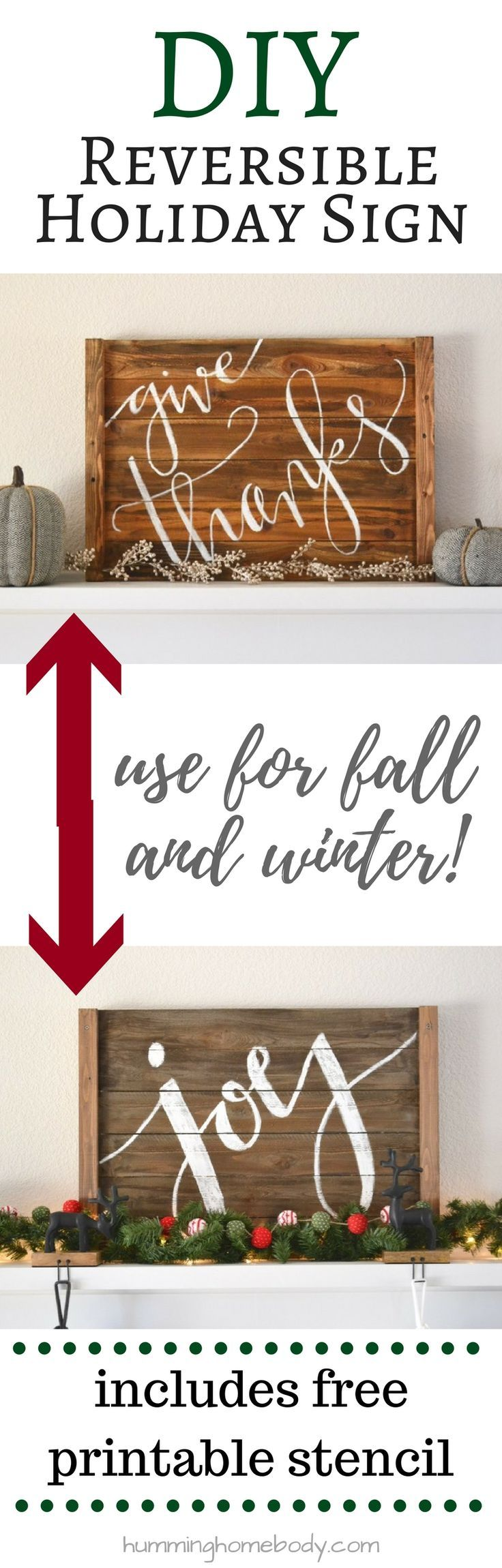 DIY this rustic wood holiday sign for your wall or mantel. It is REVERSIBLE so it can be used for multiple holidays! Best of all, the materials will only cost you about 5 bucks! Full tutorial with free printable stencil to get perfect calligraphy.